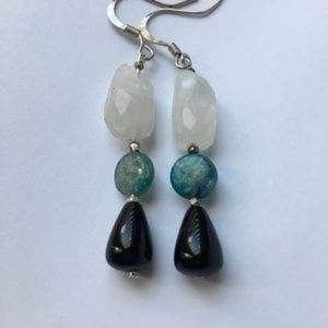 Quartz Crystal, onyx, 🧿 Kyanite dangle earrings